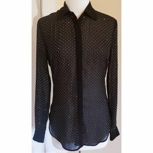 Bebe Black Sheer Button Down Shirt Gold Stud